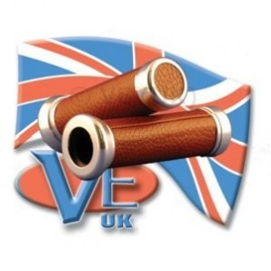 Brown Leather Grips With Alloy Ends - Geared Vespas Only Image 1